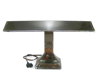 Vintage Brown Metal Desk Lamp With Fluorescent Light By Lite Master