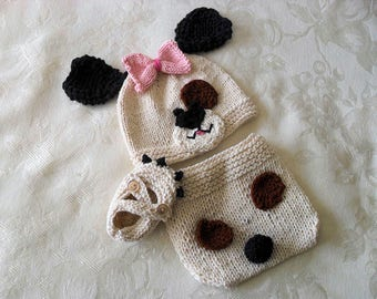 Hand Knitted Baby HAT and  DIAPER COVER Puppy Dog Baby Beanie and Diaper cotton yarnNewborn Knitted Baby Hat Knitted Baby Beanie
