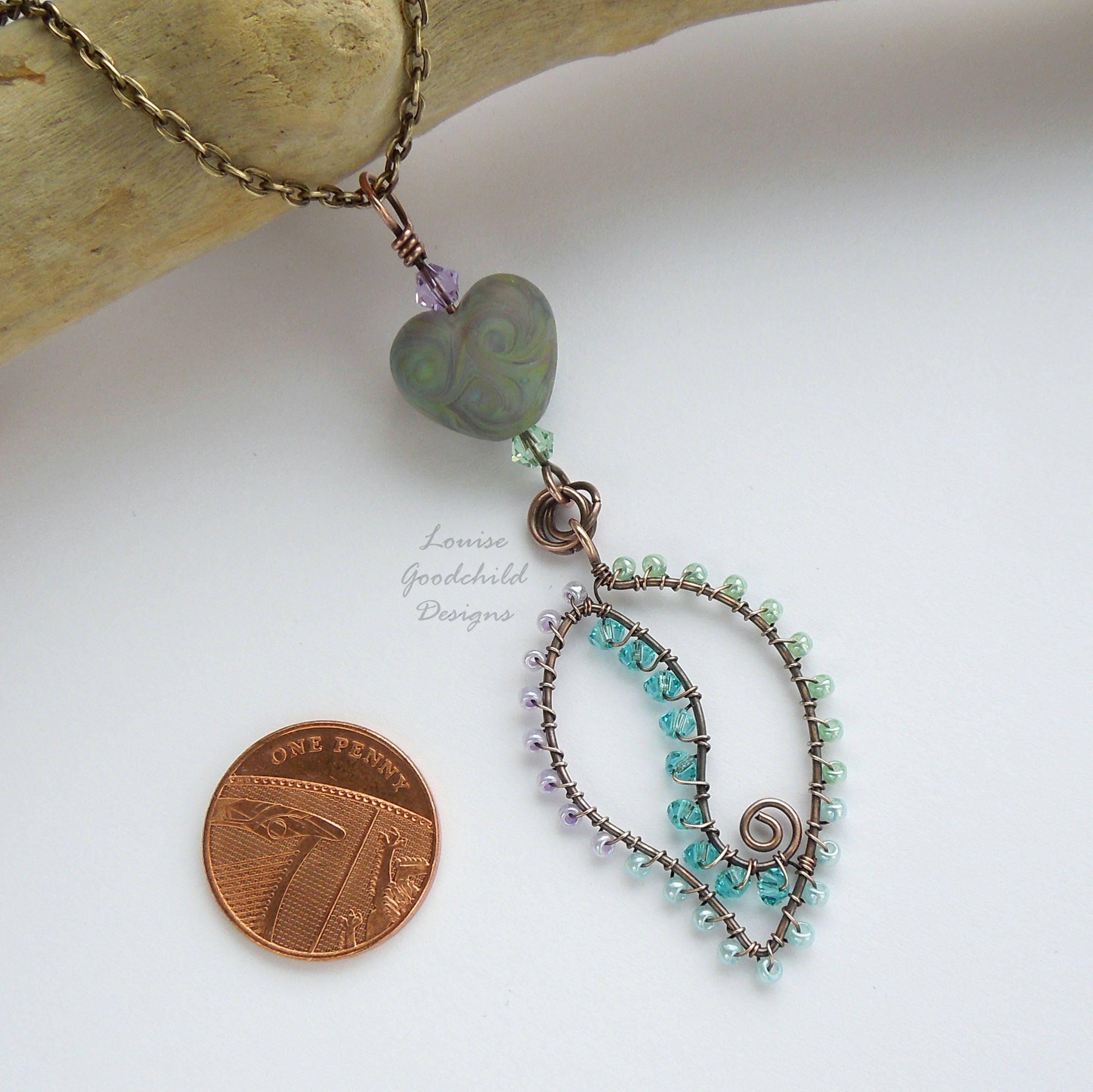 Lampwork heart pendant, wire leaf pendant, wirework pendant, crystal ...