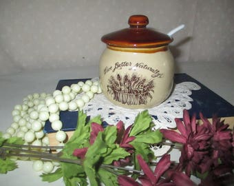 honey pot Sugar Bowl Stoneware crock with spoon Live Better naturally
