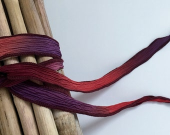 Cape Coral Purple, Hand-Dyed Silk Ribbon, Purple, Coral, Light Purple With Burgundy Edges, Handmade Silk Ribbons, Fiber Artist Silk Ribbons