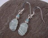 Aqua Sea Glass Earrings - Sterling Silver Wire Wrapped