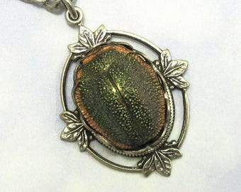Vintage Scarab Necklace Rare 1920s Egyptian Revival Stone in Antique Silver Filagree Setting