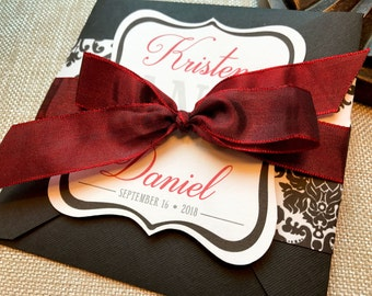 Slightly Sangria Damask Square Quad-Fold Wedding Invitation Set - Sample