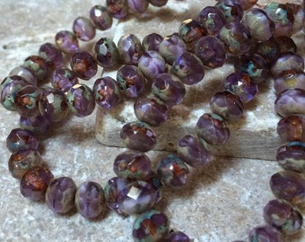 Lilac Czech Glass Faceted Rondelles 6x4mm Beads 25pc