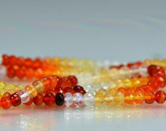 Mexican Fire Opal Rondelles AAA Gemstone Rondels micro Faceted, 3.75-4.25mm