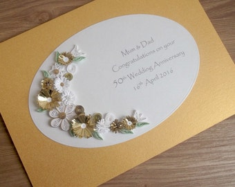Quilled 50th golden wedding anniversary card, handmade, paper quilling
