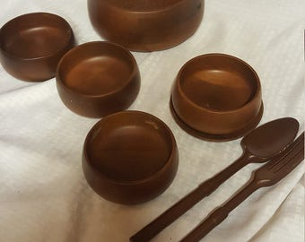 Hellerware Wood Mid Century Bowl Vintage Salad Teak Set