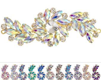 Rhinestone Applique - Swirl Floral Crystal Motif - 10.5 x 4cm