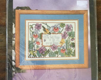 Bucilla stamped cross stitch kit 40932, The Best Things, Vintage craft kit, cross stitch kit, flowers and birds, 90s crafts