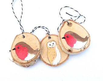 Wooden Robin Owl Christmas Ornaments THREE Robin Redbreast Barn Owl Holiday Decoration, Rustic Robin and Owl Decorations Christmas Ornaments