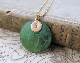 World Map Necklace, Globe Necklace, Personalized Gift, Initial Jewelry, Travel Jewelry, Graduation Gift, Verdigris Map