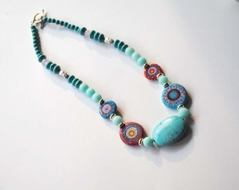 Turquoise Blue Necklace, Lampwork Bead Necklace, Abstract Necklace, Abstract Necklace, Stone Bead Necklace, Unique Funky Neckalce,