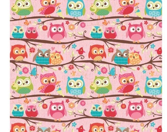 "Riley Blake Designs ""Happy Flappers"" by Kelly Panacci Owl Pink Main K4021"