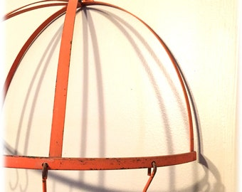Orange Painted Metal Pot Rack with Hooks, Shabby, Farmhouse, Cottage Chic, Rustic Chipped Paint