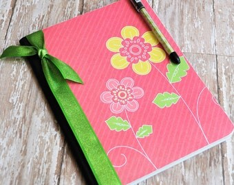 Pink and Yellow Floral Altered Composition Book, Journal for Women, Stationery, Altered Notebook, Designer Notebook, Lined Composition Book