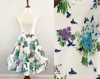 "The ""Blue Bee"" Circle Skirt • 26"" Waist • Lilac • Vintage 1950s •  Romay of California • Blue Green Lavender • Bees"