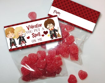 Harry Potter Valentine treat bag toppers,  Valentines Day, Love, Instant Download favor tags, Wizards. witch, Hogwarts