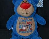 Personalized stuffed animal - Blue BEAR - Birth Announcement - Baby Keepsake - Plush - Cubbie - Embroidered