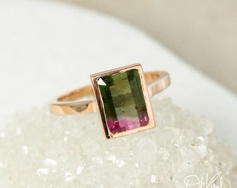 Rose Gold Statement Watermelon Tourmaline Ring