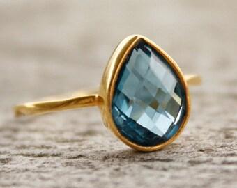 50% OFF Gold Blue Topaz Ring - Gemstone Ring - London Blue, December Birthstone Ring, Teardrop