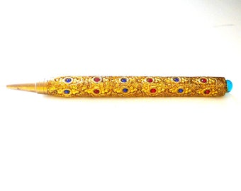 Pen - Ornate - Magical Powers - Romantic - Sparkly - Gold Glitter - Blue Stones - Red Stones - India - Retro - 1970s - Hippie - Recycled