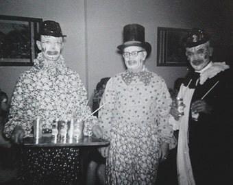 Vintage Photo Clown Men at Party Evil Clown Costumes 1960s Black and White Photograph.