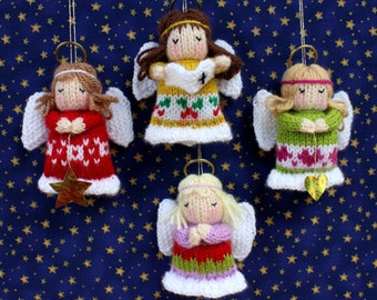 LITTLE ANGELS - Christmas decoration - Doll knitting pattern - Pdf instant download