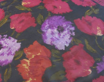 Vintage Bill Blass Square Silk Sheer Scarf - Floral Pattern - Big Pink, Purple Flowers - Large Size, Reverse Rolled Hem