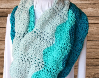 Green Cowls, Lace Knit Cowl, Green Scarves, Mint Green Cowl, Gradient Colors Cowl, Women's Winter Accessories, Gift Idea for Her