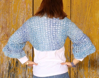 Crochet Shrug Pattern, Homespun Yarn Patterns, Openwork Shrug with Flared Sleeve, Easy Crocheted Shrug, Crochet Sweater Pattern