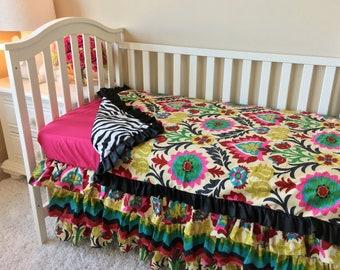 Fancy Damask Toddler Bedding, Zebra Toddler Bedding Sets, Chevron Toddler Bedding, Crib Bedding Set for Toddlers, Girl Toddler Bedding