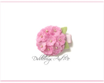 Pixie Pink Hydrangea Hair Clip, Felt Flower Hair Clip, Girl's Flower Hair Clip,  Hydrangea Hair Clip, Flower Hair Clip, Hair Clip For Spring