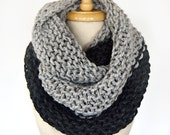 SAMPLE SALE - Color Block Infinity Scarf in Gray/Charcoal - Blanket Scarf, Clearance, Sale, Giant Scarf, Oversized Scarf