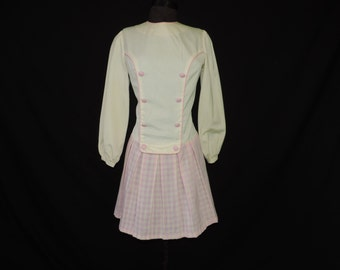 pink gingham dress 60s mod drop waist sporty checker skirt frock medium