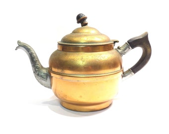Rochester Genie Copper Coffee Pot / Teapot Vintage early 1900s Hinged Lid Beverage Pot