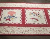 Four Red Valentine Hearts Quilted Table Runner Table Topper Handmade