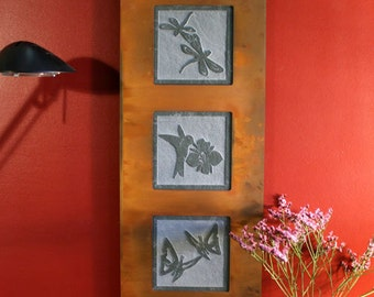 Natural Stone Wall Art Trio - Garden on Green Slate w/ Rust Frame