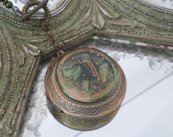 Art glass button locket necklace Victorian green purple tulip