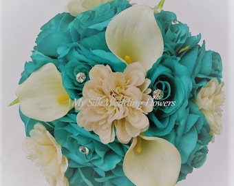 Aqua, Roses, Off-White, Real Touch, Calla Lilies, Ivory, dahlias, Diamante Pins, Silk, Flowers, Wedding, Bouquet