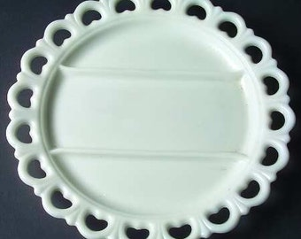 """Vintage Anchor Hocking Old Colony White Milk Glass divided Round Platter 13"""""""