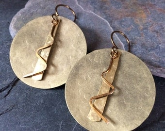 Hammered Brass Large Statement Earrings