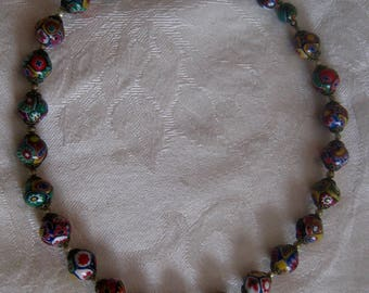 Vintage murano glass beads milliflori necklace, being sold for beads