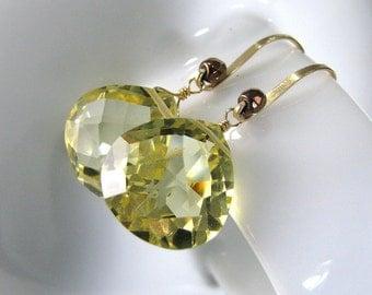 Yellow Earrings, Sparkly Yellow Quartz Earrings, Gold Earrings, Lemon Quartz Earrings, Yellow Gemstone Earrings - Lemon Meringue