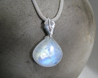 Moonstone Necklace, Rainbow Moonstone Neckklace, Sterling Silver, AAA Moonstone Gemstone, White Necklace, Large Moonstone - Purity