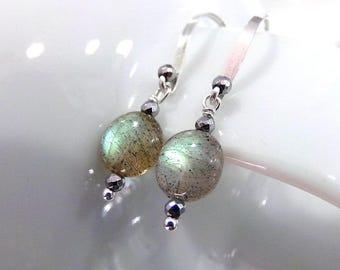 Labradorite Earrings, Green Gray Labradorite Earrings, Sterling Silver Earrings, Green Gemstone Earrings, AAAA Gemstone Earrings - Stellar