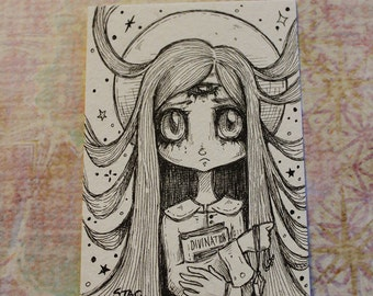 Original Inktober ACEO No 10 Divination  lowbrow art