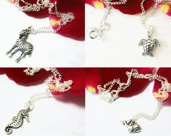 Choose Your Design Silver Plated Animal Pendant Necklace, Zebra Necklace, Seahorse Necklace, Turtle Necklace, Whale Necklace, Ladies Gift