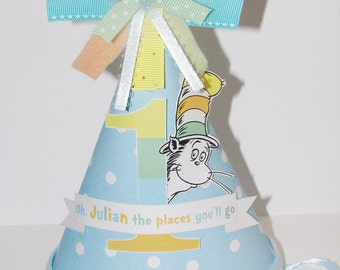 Oh the Places You'll Go Birthday Hat - Colors can be changed