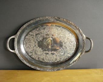 Large Oval Silverplate Serving Tray - Rogers and Bro. 2380 Silver Tray Handles - Vintage Silverplate Plant or Drink Tray